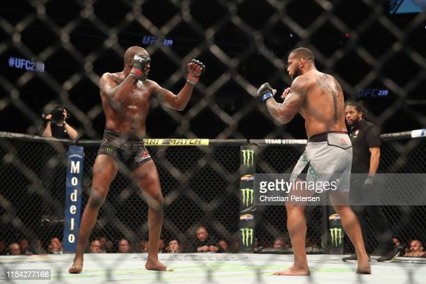 Jon Jones faces Thiago Santos of Brazil in their UFC light heavyweight championship fight during the UFC 239 event at TMobile Arena on July 6 2019 in...