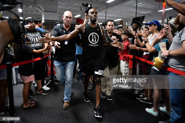 Jon Jones interacts with fans at UFC GYM La Mirada on July 27 2017 in La Mirada California