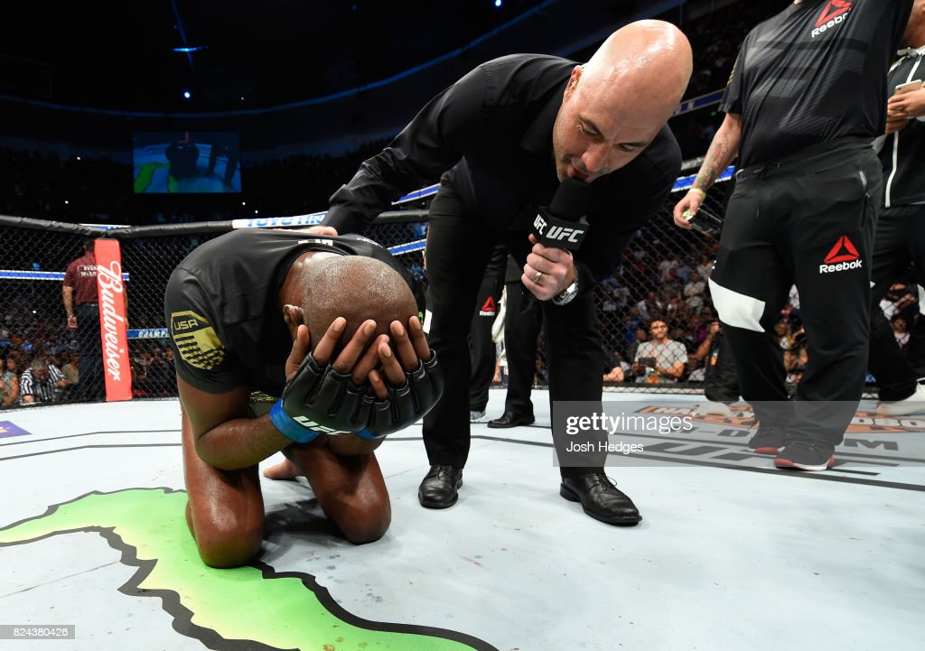 Jon Jones is interviewed by Joe Rogan after defeating Daniel Cormier to win the UFC light heavyweight championship during the UFC 214 event at Honda Center on July 29, 2017 in Anaheim, California.