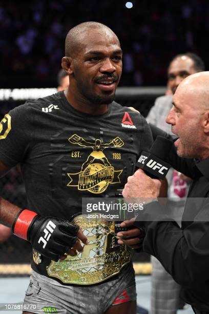 Jon Jones is interviewed by Joe Rogan after his KO victory over Alexander Gustafsson of Sweden in their light heavyweight bout during the UFC 232...