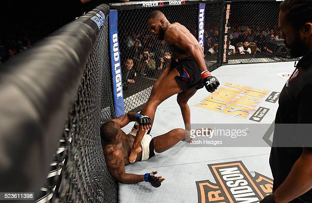 Jon Jones kicks Ovince Saint Preux in their interim UFC light heavyweight championship bout during the UFC 197 event inside MGM Grand Garden Arena on...