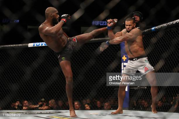 Jon Jones kicks Thiago Silva of Brazil in their UFC light heavyweight championship fight during the UFC 239 event at TMobile Arena on July 6 2019 in...