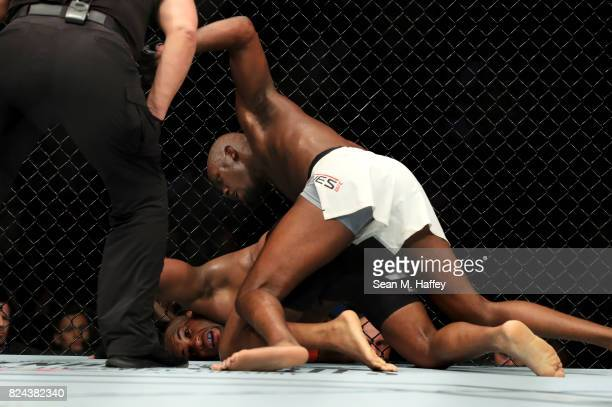 Jon Jones knocks out Daniel Cormier during the UFC 214 event at Honda Center on July 29 2017 in Anaheim California