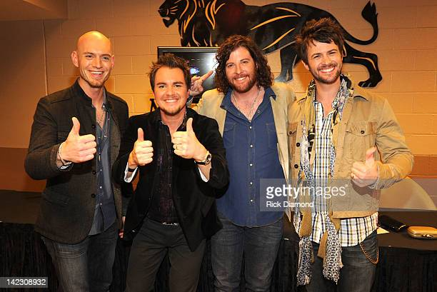 Jon Jones Mike Eli James Young and Chris Thompson of the Eli Young band backstage at the 47th Annual Academy Of Country Music Awards held at the MGM...