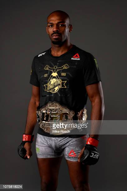 Jon Jones poses for a backstage portrait backstage during the UFC 232 event inside The Forum on December 29 2018 in Inglewood California