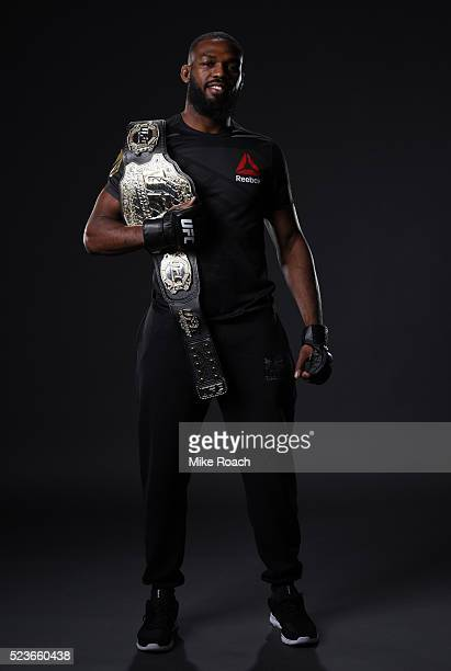 Jon Jones poses for a portrait backstage during the UFC 197 event inside MGM Grand Garden Arena on April 23 2016 in Las Vegas Nevada