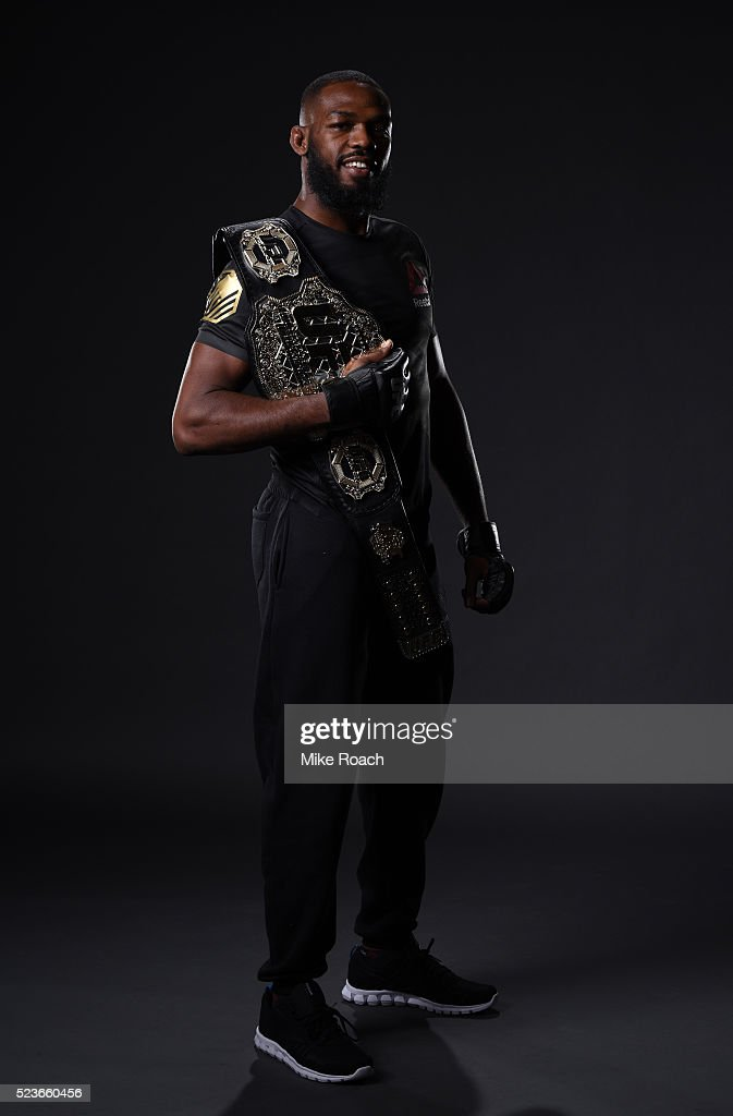 Jon Jones poses for a portrait backstage during the UFC 197 event inside MGM Grand Garden Arena on April 23, 2016 in Las Vegas, Nevada.
