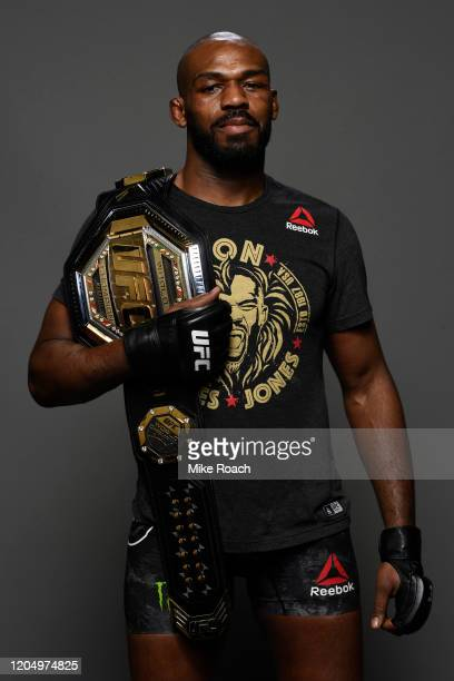 Jon Jones poses for a portrait backstage during the UFC 247 event at Toyota Center on February 08 2020 in Houston Texas
