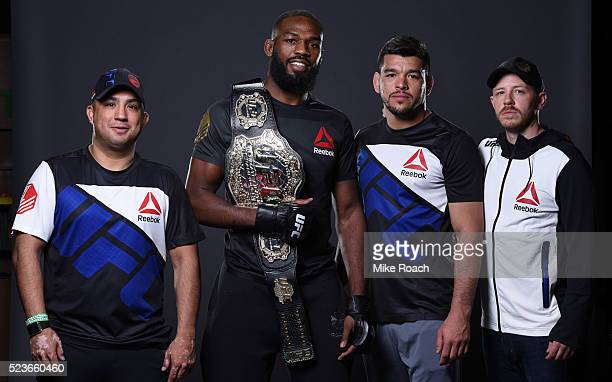 Jon Jones poses for a portrait with his team backstage during the UFC 197 event inside MGM Grand Garden Arena on April 23 2016 in Las Vegas Nevada