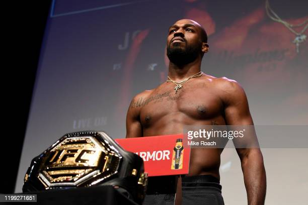 Jon Jones poses on the scale during the UFC 247 ceremonial weighin at the Toyota Center on February 7 2020 in Houston Texas