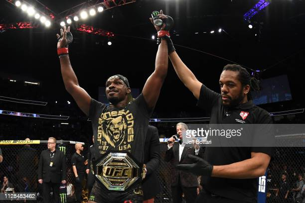 Jon Jones reacts to his win against Anthony Smith in their UFC light heavyweight championship bout during the UFC 235 event at TMobile Arena on March...