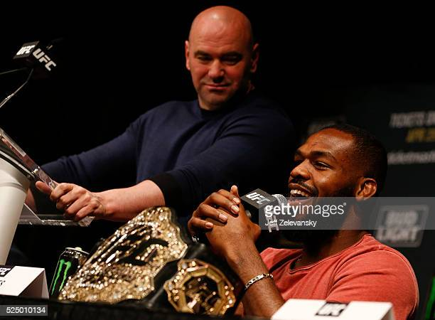 Jon Jones speaks at a press conference with UFC president Dana White at a media availability for UFC 200 at Madison Square Garden on April 27, 2016...