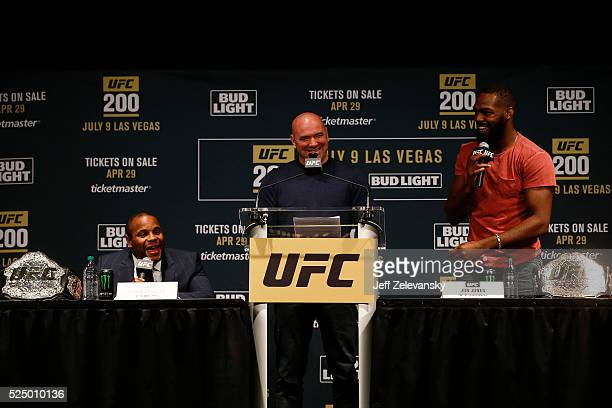 Jon Jones speaks at a press conference with UFC president Dana White and Daniel Cormier at a media availability for UFC 200 at Madison Square Garden...