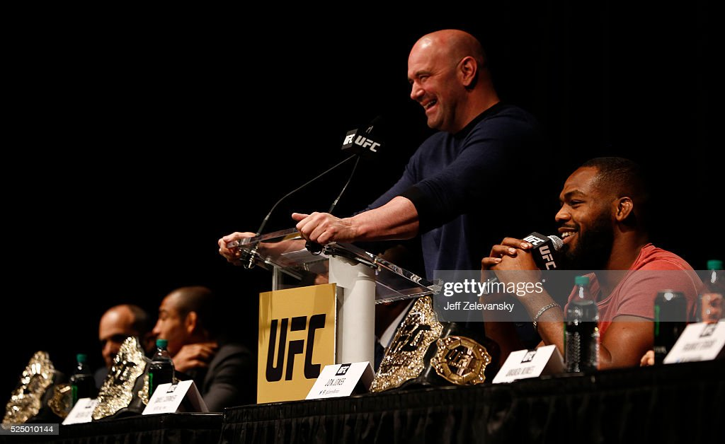 Jon Jones speaks at a press conference with UFC president Dana White at a media availability for UFC 200 at Madison Square Garden on April 27, 2016 in New York City.