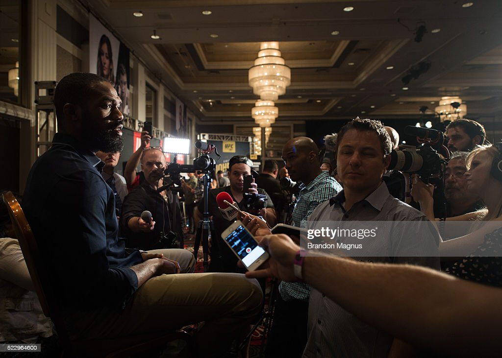 Jon Jones speaks to the media during the UFC 197: Ultimate Media Day at MGM Grand Hotel & Casino on April 21, 2016 in Las Vegas Nevada.