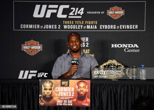 Jon Jones speaks to the media during the UFC 214 post fight press conference inside the Honda Center on July 29 2017 in Anaheim California