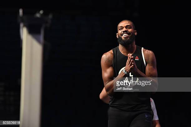 Jon Jones walks onstage towards the scale during the UFC 197 weighin at MGM Grand Garden Arena on April 22 2016 in Las Vegas Nevada