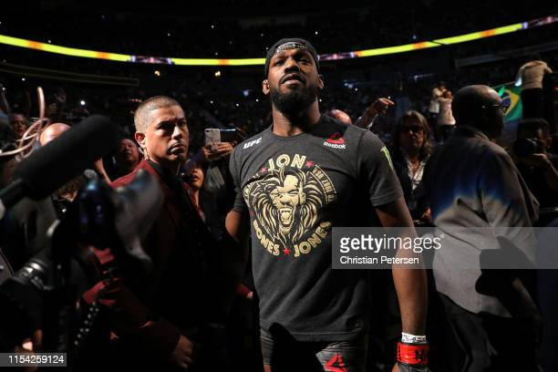 Jon Jones walks to the octagon in his UFC light heavyweight championship fight during the UFC 239 event at T-Mobile Arena on July 6, 2019 in Las...