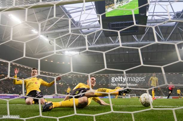 Jon Jonsson of IF Elfsborg looks on as the ball hits the net during the Allsvenskan match between AIK and IF Elfsborg at Friends Arena on October 1...