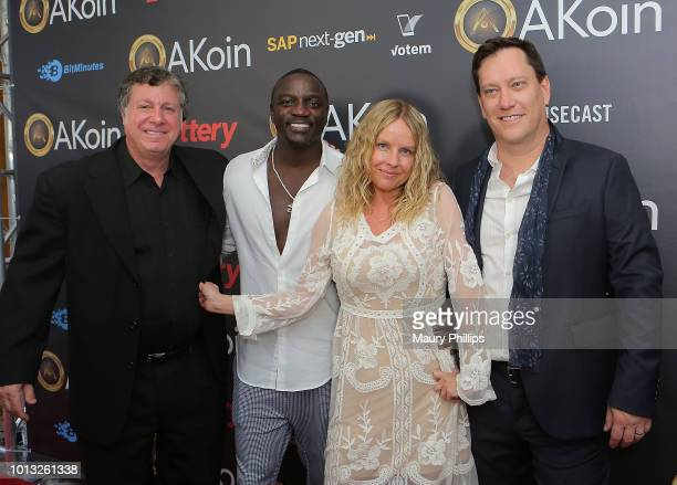 Jon Karas Akon Lynn Liss and Ryan Scott attend a private launch for Akon's Cryptocurrency AKoin on August 7 2018 in West Hollywood California