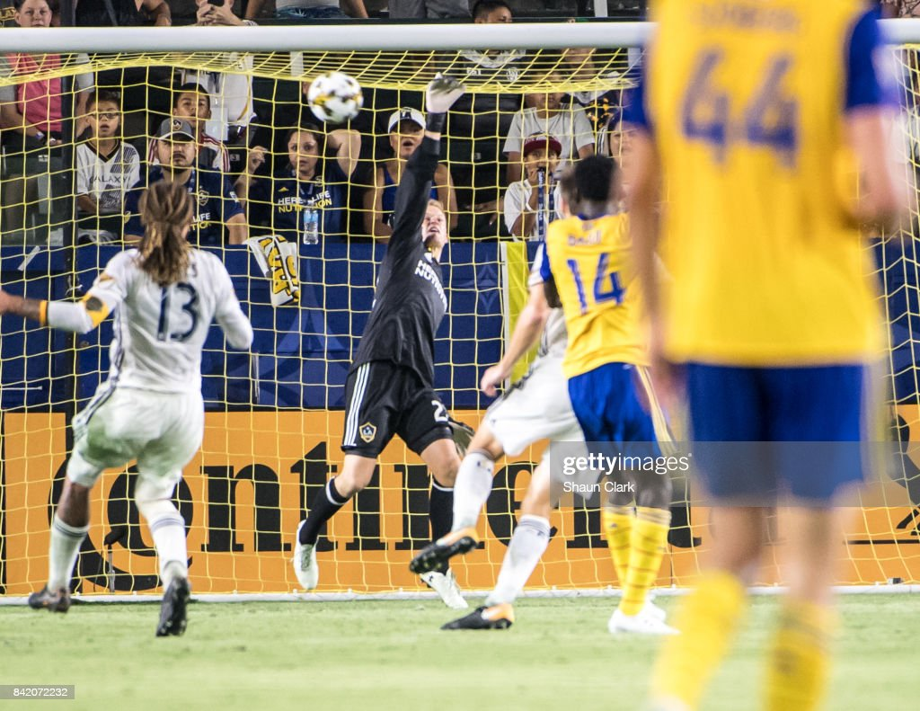 Jon Kempin #22 of Los Angeles Galaxy makes a save during the Los Angeles Galaxy's MLS match against Colorado Rapids at the StubHub Center on September 2, 2017 in Carson, California. Los Angeles Galaxy won the match