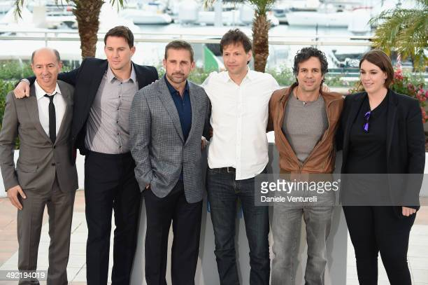 Jon Kilik actors Channing Tatum Steve Carell director Bennett Miller actor Mark Ruffalo and producer Megan Ellison attend the 'Foxcatcher' photocall...