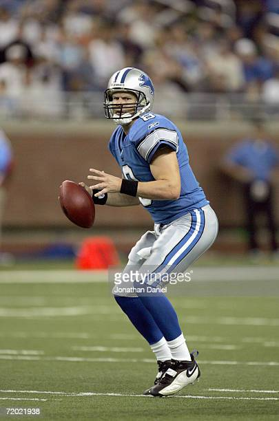 Jon Kitna of the Detroit Lions looks to pass the ball during the game against the Green Bay Packers on September 24, 2006 at Ford Field in Detroit,...