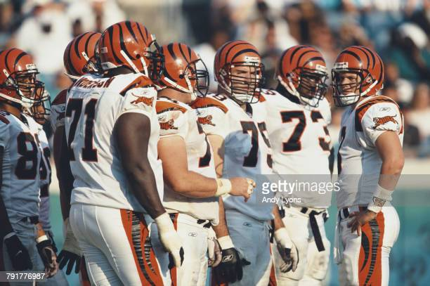 Jon Kitna Quarterback for the Cincinnati Bengals with his offensive line during the American Football Conference Central game against the...