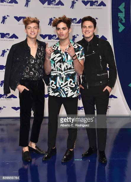 Jon Klaas Emery Kelly and Ricky Garcia of musical group Forever in Your Mind attends the 2017 MTV Video Music Awards at The Forum on August 27 2017...
