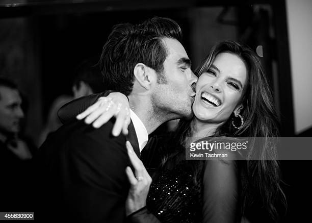 Jon Kortajaren and Alessandra Ambrosio attend the amfAR Milano 2014 Gala Dinner and Auction as part of Milan Fashion Week Womenswear Spring/Summer...
