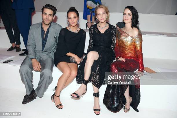 Jon Kortajarena Alicia Vikander Uma Thurman and Eva Green attend the Bvlgari Hight Jewelry Exhibition on June 13 2019 in Capri Italy