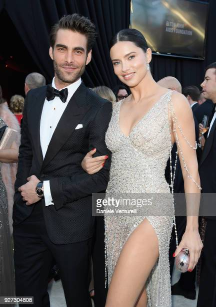 Jon Kortajarena and Adriana Lima attends Elton John AIDS Foundation 26th Annual Academy Awards Viewing Party at The City of West Hollywood Park on...