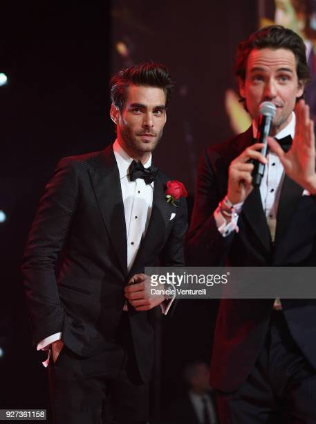 Jon Kortajarena and Alexander Gilkes attend Elton John AIDS Foundation 26th Annual Academy Awards Viewing Party at The City of West Hollywood Park on...