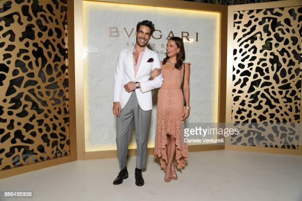Jon Kortajarena and Alicia Vikander attend the Grand Opening of Bulgari Dubai Resort on December 5 2017 in Dubai United Arab Emirates