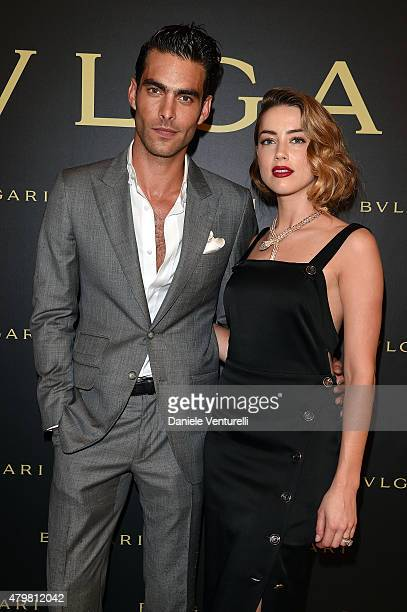 Jon Kortajarena and Amber Heard attend Bulgari Haute Couture Cocktail Party Model Show on July 7 2015 in Paris France