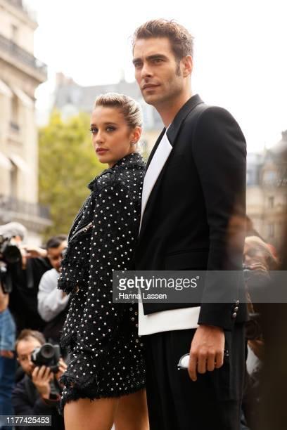 Jon Kortajarena and Maria Pedraza wearing Balmain outside Balmain during Paris Fashion Week - Womenswear Spring Summer 2020 on September 27, 2019 in...