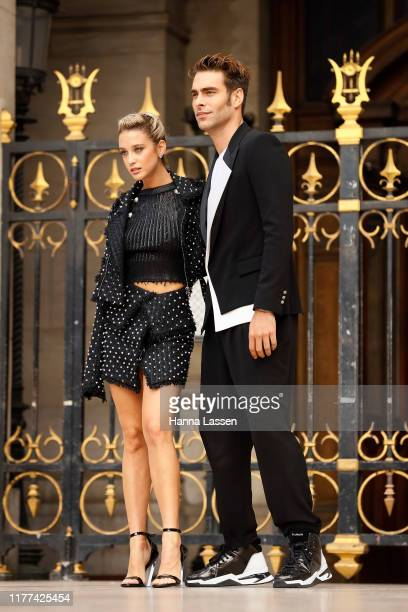 Jon Kortajarena and Maria Pedraza wearing Balmain outside Balmain during Paris Fashion Week Womenswear Spring Summer 2020 on September 27 2019 in...