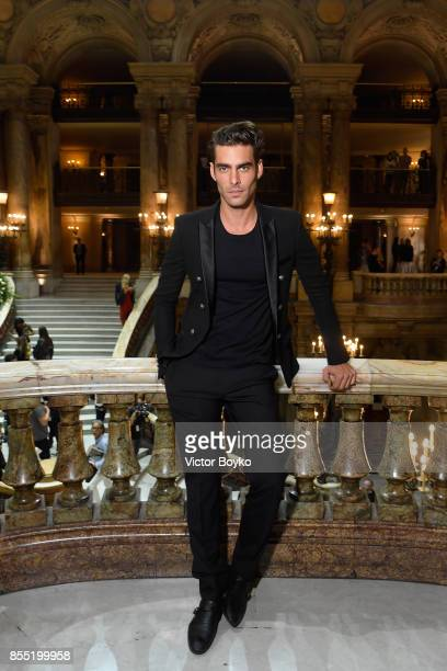 Jon Kortajarena attends the Balmain show as part of the Paris Fashion Week Womenswear Spring/Summer 2018 on September 28 2017 in Paris France