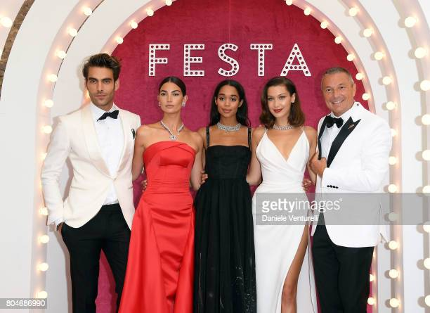 Jon Kortajarena Lily Aldridge Laura Harrier Bella Hadid and JeanChristophe Babin attend Bvlgari Party at Scuola Grande della Misericordia on June 30...