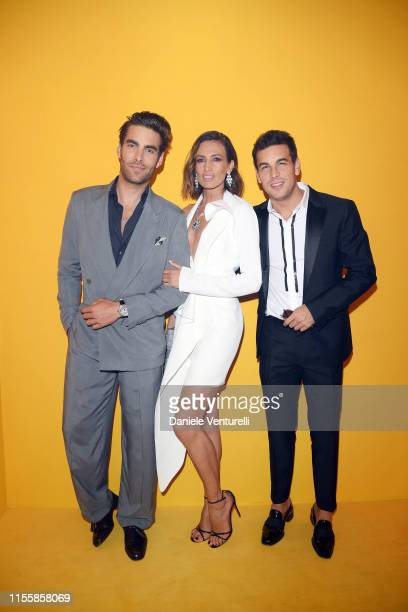 Jon Kortajarena Nieves Alvarez and Mario Casas attend the Bvlgari Hight Jewelry Exhibition on June 13 2019 in Capri Italy