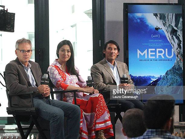 "Jon Krakauer, E. Chai Vasarhelyi and Jimmy Chin attend AOL Build Presents: ""MERU""at AOL Studios In New York on August 13, 2015 in New York City."