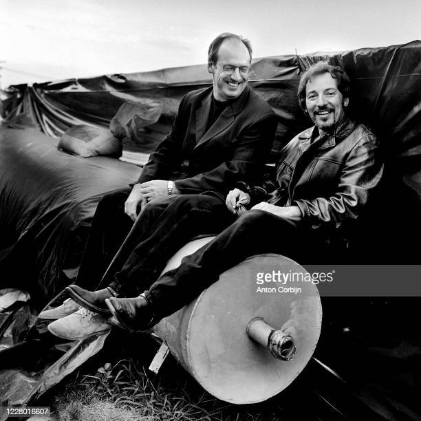 Jon Landau and Bruce Springsteen are photographed during preparations for the first concert for the Rock and Roll Hall of Fame Museum on September 2...