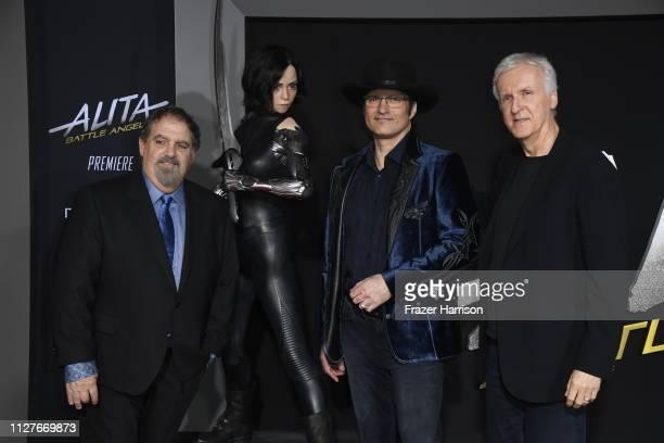 Jon Landau Robert Rodriguez and James Cameron attend the premiere of 20th Century Fox's Alita Battle Angel at Westwood Regency Theater on February 05...