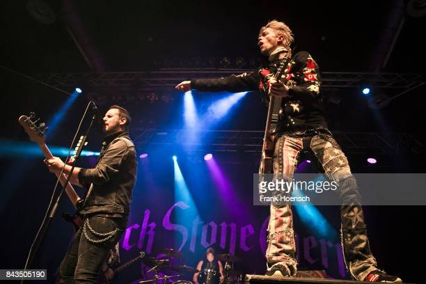 Jon Lawhon and Ben Wells of the American band Black Stone Cherry performs live on stage during a concert at the Huxleys on September 6 2017 in Berlin...