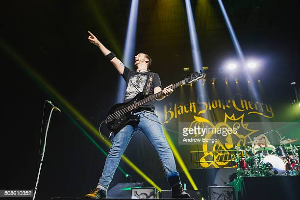 Jon Lawhon of Black Stone Cherry performs at First Direct Arena on February 5, 2016 in Leeds, England.