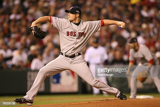 Jon Lester of the Boston Red Sox pitches during Game Four of the World Series against the Colorado Rockies at Coors Field in Denver Colorado on...