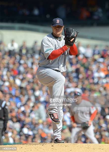 Jon Lester of the Boston Red Sox pitches during the Opening Day game against the Detroit Tigers at Comerica Park on April 5 2012 in Detroit Michigan...