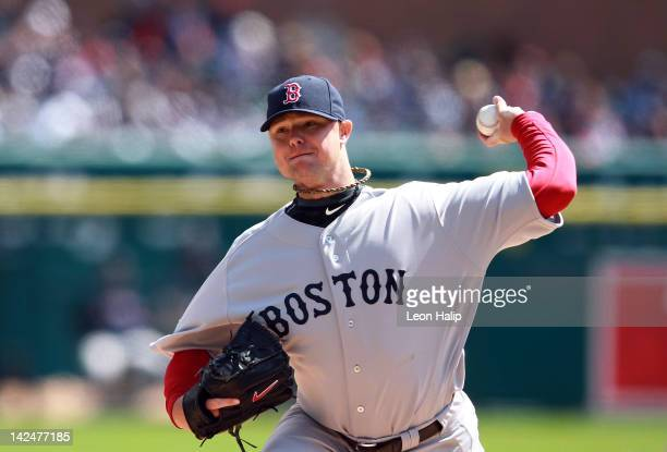 Jon Lester of the Boston Red Sox pitches in the first inning on opening day against the Detroit Tigers at Comerica Park on April 5 2012 in Detroit...
