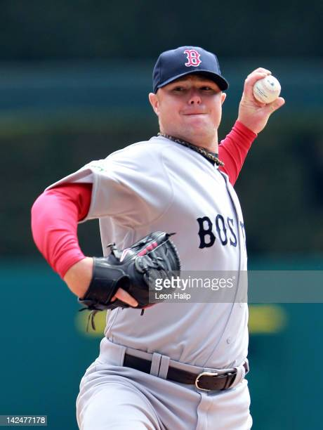 Jon Lester of the Boston Red Sox pitches in the second inning during the opening day game against the Detroit Tigers at Comerica Park on April 5 2012...