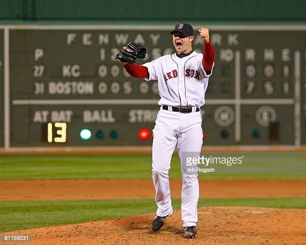 Jon Lester of the Boston Red Sox reacts after throwing a no hitter against the Kansas City Royals at Fenway Park on May 19 2008 in Boston...